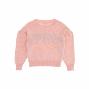 Monnalisa Kids Inlay Knit Pink Sweater. Combine with elegant skirts or trousers, this delightful pullover with inlay wording is for girls of all ages. Sweather in light pink hue with voluminous sleeves and a round neckline. Knitted sweater with wool, making it extremely soft.