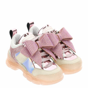 Monnalisa Kids Bow Crystal Trainers. These new antique pink sneakers feature mixed materials, and a rhinestone maxi bow; with pretty metallic, glittery and iridescent trims.