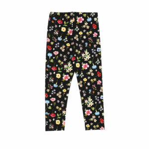 Monnalisa Kids Black Floral Leggings. The perfect accessory to complement winter outfits, these practical floral leggings give a romantic accent to every little girl's wardrobe. Black leggings with colourful floral print for girls from Monnalisa. Made from soft and comfortable viscose jersey, they have a gently elasticated waist.