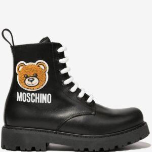 Moschino Kids Teddy Bear Boots.Black leather boots made in Italy; combat boot style, with round toe cap, back flap for easy wearing. The Teddy Bear stands out on the side of the boot, in a fantastic embroidery. Zip fasteners and white lace that contrast with black leather, with rubber soles.