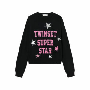 """Twinset Kids Jumper """"Super Stars"""". Viscose blend jumper with writing and jacquard stars, regular fit, small logo plate on the back. Easy-chic appeal for this viscose blend Girls' jumper with writing and jacquard stars, crew neck, long sleeves and small logo plate on the back. Perfect for school and everyday activities."""