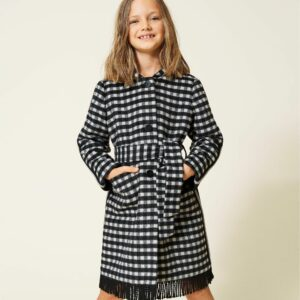Twinset Kids Chequered Wool Coat. Yarn-dyed wool cloth coat with check pattern in front and solid colour on the back, fringes, matching belt.
