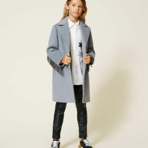 Twinset Kids Wool Coat With Fringes. Wool cloth coat with suede fringe with rhinestone trim on yoke and sleeves, button closure. Brand new appeal for this Girls' wool coat with yoke and sleeves trimmed with suede fringes and rhinestones.