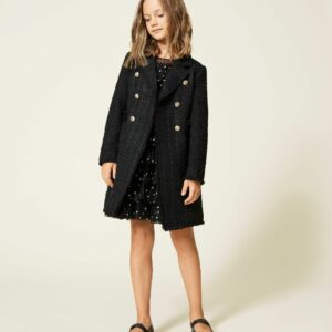 Twinset Kids Wool Coat With Lapels. Double breasted bouclé wool cloth coat with lapels, gold-tone button closure, lining. The perfect style for your little one's most special looks. This Girls' coat made of wool cloth with bouclé effect has a straight fit, double breasted closure with gold-tone buttons, lining with logo print all over and light padding. Super warm and perfect for an elegant outfit.