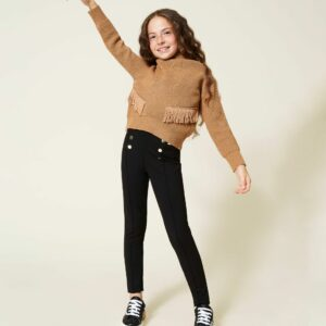 Twinset Kids Skinny Leggings. Milano stitch leggings with elastic logo at the hips and back, decorative gold tone buttons, invisible zips at the hem.