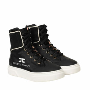 Elisabetta Franchi Kids Sneakers. Climbed sneakers, boot style, in leather and fabric. Heel reinforcements enhance comfort.