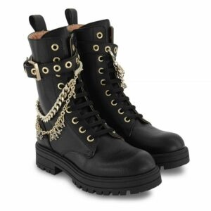 Elisabetta Franchi Kids Embellished Combat Boots. Combat-style leather boots with rubber sole. Embellished with golden chains, with applications referring to the brand. They fasten comfortably on the side with a zip and even with laces.