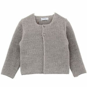 Foque Baby Cotton knit Cardigan.Knitted cotton cardigan, round neckline and black with mother-of-pearl buttons. Perfect to complement an outfit for your baby girl or boy.