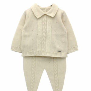 Foque Baby Pearl Knitted Cotton Set.Sweet pearl knitted set for baby boys by Foque. Made from cotton, it has cable knit trims on the front, with raised knitted details. The sweater fastens at the back, with mother-of-pearl buttons, for your baby's comfort and safety.