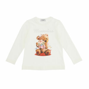Monnalisa Kids Teddy Bear Top. A panel print and a maxi logo distinguish this long-sleeved cotton T-shirt. Made in soft cotton jersey. It has a sweet bear print on the front, with the brand's logo name in silver studded letters.