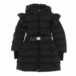 Monnalisa Kids Black Puffer Coat. This versatile garment features maximum wearability that protects from the harshness of winter with style thanks to the padding. Lovely black zip-up puffer coat, with a detachable branded belt.