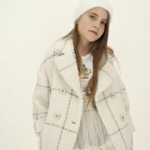Monnalisa Kids Bouclé Coat. Autumn winter outerwear, bag line coat with wool and with lurex details and with a big check pattern. Perect coat for teenagers and mums, with lapel collar and oblique pockets.