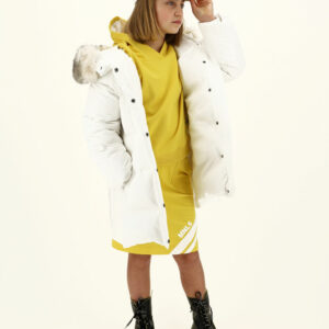 Monnalisa Kids Hooded Down Jacket. Ideal for the coldest winters, this long warm coat in real down, becomes trapezoid shaped thanks to the side zips.