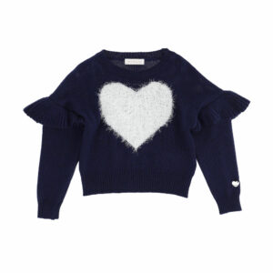 Monnalisa Kids Blue Heart Sweater. Glam version for this sweater with a heart inlay. Navy blue sweater with a fluffy white heart motif on the front. Knitted in a luxuriously soft blend of viscose, wool and angora, it has pretty ribbed ruffle shoulder trims and a shiny silver logo charm on one sleeve.