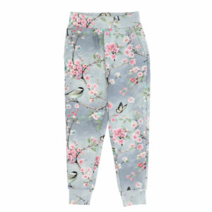 Monnalisa Kids Grey Floral Joggers. Practical and fashionable cotton jogging sweatpants with cuffs. Grey joggers with a beautiful pink cherry blossom, bird and logo pattern. Made in lightweight sweatshirt jersey, they have front pockets and an elasticated waistband.