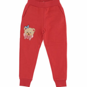 Monnalisa Kids Red Teddy Joggers. Soft cotton fleece for these practical pants in a sporty chic version enhanced by placed bouquet prints.