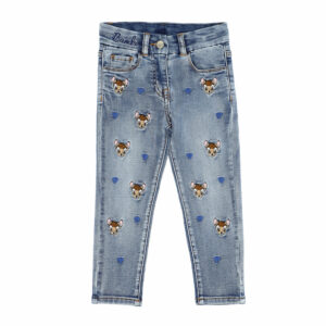 Monnalisa Kids Denim Disney Jeans. This is the casual garment par excellence, revisited with an all-over embroidery of a Disney character. A pair of dark blue washed jeans, with cute Disney© Bambi and blue heart motifs embroidered on the front. Made from a soft, super stretchy cotton blend for comfort with the look of denim with 'Bambi' embroidered on the waist and a navy blue velvet logo patch on the back.