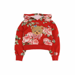 Monnalisa Kids Teddy Bear Hoodie. A sporty-chic hooded sweatshirt in soft cotton fleece accented with an all-over print. Red hoodie made in soft and stretchy cotton jersey, with a fleecy inside. It has a pink and green floral print, with a beige fleece and embroidered bear appliqué on the front.