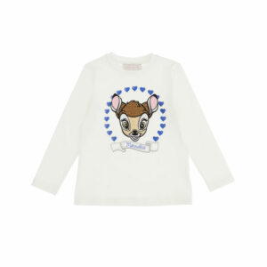 Monnalisa Kids Bambi Top. A tender panel print, framed by logoed hearts for the protagonist of an irresistible T-shirt for girls. Soft and stretchy, it has a Disney© Bambi print with sparkly diamanté and metallic blue heart motifs printed on the front.