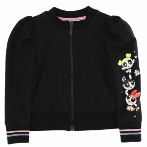 Monnalisa Kids Black Powerpuff Girls Sweatshirt. Black powerpuff girls zip up top for girls by Monnalisa. Made from soft cotton, it features a powerpuff girls print with a embellished rhinestones on one sleeve. it has a front pocket and pink and blue striped on ribbed cuff. It fasten with a zip on the front.