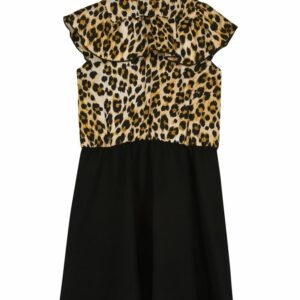 Moschino Kids Ruffled Stretch-Jersey Dress. Crafted from stretch-jersey featuring short sleeves and a comfortably flared skirt, this style is accented with leopard-printed details and ruffled trims. Budding fashionistas will love this black dress from Moschino Kids.