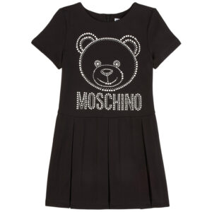 Moschino Kids Embellished Stretch Dress.Crafted from stretch-jersey featuring short sleeves and a comfortably flared skirt, this style is embellished with pearl-like studs in the shape of the label's bear motif.