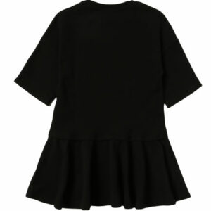Moschino Kids Couture Dress. The dress has a branded printed design at the front with rhinestone details. It has a ribbed high neck and ribbed cuffs and hem. The bottom of the dress is slightly draped.