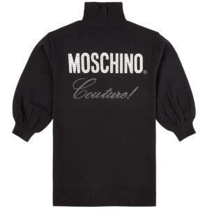 Moschino Kids Black Couture Dress. Black Couture knitted dress by Moschino. The knitted dress has a branded printed design at the front with rhinestone details. It has a ribbed high neck and ribbed cuffs and hem.