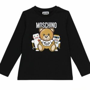 """Moschino Kids Teddy Bear Toy 2. Moschino Kids' beloved """"Toy"""" teddy bear mascot is joined with some new friends, metallic robots, on the front of this printed top. This long-sleeved style is made from black cotton jersey with stretch added for comfort."""