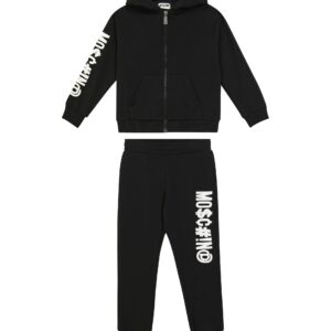 Moschino Kids Black Set. Accented with the label logo down one arm, it's made from stretch-cotton jersey and trimmed with ribbed edges. Keep your little one cozy with this black hoodie and sweatpants set from Moschino Kids.