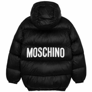 Moschino Kids Logo Quilted Shell Coat. Emblazoned with bold branding across the back, this hooded style is packed with down padding for premium warmth. If your youngster already has a taste for luxury logos, then they'll love this black shell coat from Moschino Kids.