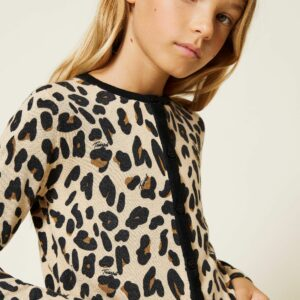 Twinset Kids Animal Print Set. Viscose blend cardigan and short sleeve jumper twin-set with animal print all over.