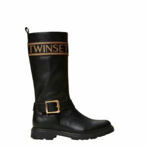 Twinset Kids Calf Leather Boots. Leather boots with logo trim and ankle strap, inner side zip.