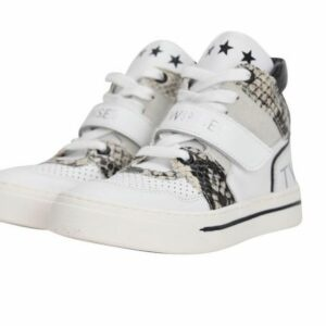 Twinset Kids Basket Sneaker Wit-Piton. Twinset Basket Sneakers Piton white Hi top sneakers in white leather combined with a python print and logo. The shoe has a drawstring closure and an inside zipper. The sneakers are leather-lined with a rubber sole.