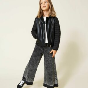 Twinset Kids Jacket with Quilted Sleeves. Coated fabric biker jacket with quilted nylon sleeves, zip closure, padding and lining.