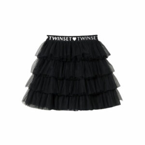 Twinset Kids Layered Black Tulle Skirt. A Twinset classic for your little girl's wardrobe. Multilayered tulle skirt with flounces logo elastic at the waist. Complete it with jumper and booties for everyday, but also on special occasions.