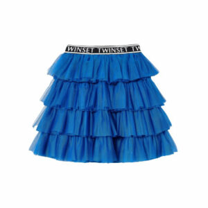 Twinset Kids Layered Blue Tulle Skirt. Multilayered tulle skirt with flounces, logo elastic at the waist. A Twinset classic for your little girl's wardrobe. Multilayered tulle skirt with flounces logo elastic at the waist. Complete it with jumper and booties for everyday, but also on special occasions.