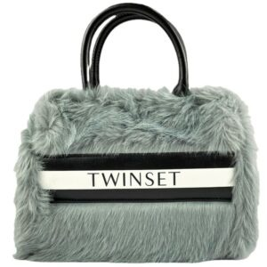 Twinset Kids Grey Bag with Logo. TWINSET bag in faux leather with contrasting straps and inserts, with logo. Can be used in the hand or across the shoulder.
